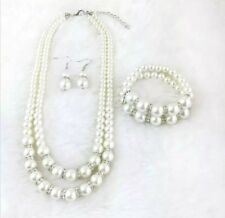 Stunning Double Layer Ivory Colour Pearl Necklace Bracelet Set Wedding Bridal