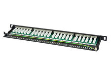 Patch Panel PCB 24 Port 0.5U Cat6a Shielded FTP 10G Half U + Cable Management