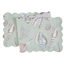 "BREEZY SHORES Quilted Reversible 51"" Table Runner by C&F Sea Glass Green, Shells"