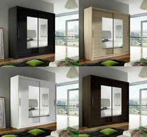 "New Bedroom Wardrobe ""BRAVA 7"" Sliding Doors Mirror Hanging Rail Shelves 180 cm"