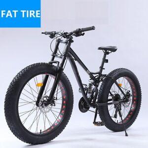 "24/26""Large Fat Tire Heavy Duty Beach Mountain Bike High Carbon Frame 21 Speed"