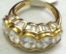 Victoria Wieck 6.35ct Absolute 5 Stone Oval and Baguette Ring Vermeil Size 7 HSN