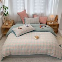 Cotton Soft Duvet Cover Set Gingham Plaid Geometric Bedding Set Bed Sheet  4Pcs