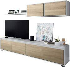 Mueble de salón Moderno, modulos Comedor Alida. Blanco Artik y Roble Canadian