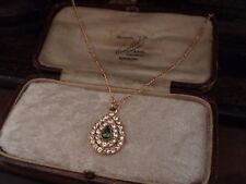 Vintage Clear & Turmaline Green Teardrop Crystal Pendant Necklace Gold Plated.