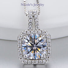 Exquisite 18K White Gold Plated Square Face Crystal Pendant Necklace NF154
