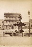 Roma Piazza Barberini Fontana Tritone Foto originale all'albumina 1880c S1262