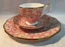 Royal Albert Fine Bone China 3 Pce Set Vintage Florals Peach Teacup Saucer plate