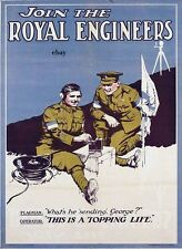 WW1 RECRUITING POSTER BRITISH ARMY ROYAL ENGINEERS NEW A4 SIZE PRINT