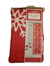 Holiday Time Fabric Shower Curtain Red / White SNOWFLAKES 70 x 72 NEW Nice Xmas