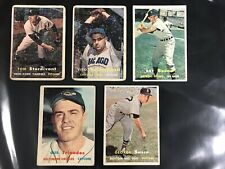 5 different 1957 topps baseball cards (overall low grade)