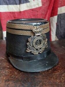 BRITISH ARMY, VICTORIAN / 1860s SHAKO 61st REG,  SOUTH GLOUCESTERSHIRE