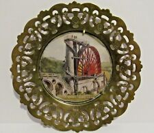 Brass Dish Scottish Thistle Pierced Cut Out Metal Glass Water Wheel Laxey Vtg
