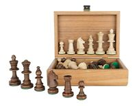 Tournament Staunton Chess Pieces in Wooden OLIVE Box - 3,5 King