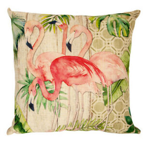"""Flamingos Accent Pillow, 12 3/4"""", Pretty Flamingos, Tropical Leaves, Palm Fronds"""