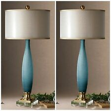 TWO ETCHED FROSTED COBALT BLUE GLASS TABLE LAMP CRYSTAL FOOT BRASS DETAILS SHADE