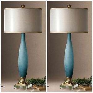 TWO ALAIA ETCHED FROSTED COBALT BLUE GLASS TABLE LAMP CRYSTAL FOOT BRASS METAL