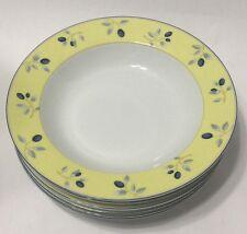 Royal Doulton Set of 6 Soup Bowls Blueberry Pattern Yellow Blue White EUC