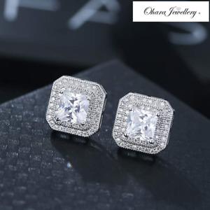 18K White Gold Cubic Zirconia Square Silver Stud Pave Earrings Women Jewellery