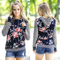 Women Floral Striped Long Sleeve Sweatshirt Loose Blouse Tops Hoodie Coat Shirt