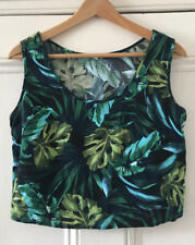 American Apparel Women's Green Tropical Palm Sleeveless Crop Blouse Top One Size