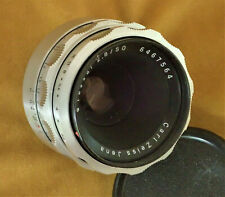 Rare Silver Carl Zeiss Jena Tessar f2.8 50mm Lens with M42 screw mount + Caps