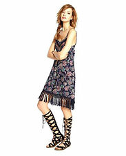 NEW BAND OF GYPSIES WOMEN BOHO SLIP ON SPAGHETTI STRAPS CAMI DRESS TASSEL HEM S