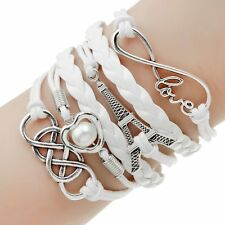 Infinity Love Heart Tower Friendship Antique Silver Leather Charm Bracelet Gift