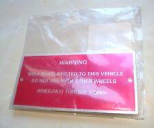 Land Rover - WOLF - Wheel Nut Torque Warning Plate