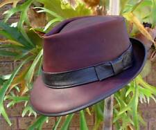 BROWN LEATHER HAND CRAFTED MENS' FORMAL FEDORA HAT / GODFATHER MOVIE STYLE HAT
