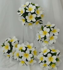 Silk Wedding Bouquets Latex White Yellow Frangipani Flowers Posy Set Flower