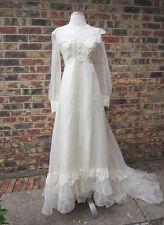 BEAUTIFUL VINTAGE WEDDING DRESS LACE CREAM/BEIGE SIZE 8