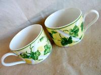 Waverly Gazebo  2 Coffee Tea  Cups  Ivy on Yellow Trellis