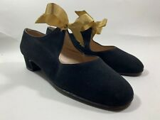 "Beltrami Firenze Black Suede Ribbon Tie Mary Jane Shoe 1.25"" Block Heel UK 3.5"