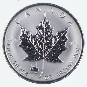 1998 Canada 5 Dollars 1 Oz Silver Maple Leaf Titanic Privy Mark World Coins *737