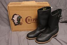 "Chippewa 11"" Inch Black Odessa Leather Plain Engineer Boot w/Box Mens 9E 27861"