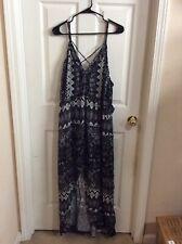 New Women's Xhilaration Black & White Paisley Floral Long Dress Plus Size 3X