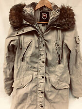 1 Madison Expedition Faux Fur Trim Womens Coat Hooded Size Small S
