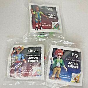 1990 Burger King BK Kids Club Action Figures SET of 3 NEW Jaws, IQ, Kid Vid