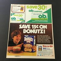 VTG Retro 1982 Powdered Donutz Crispy Sweetened 3-Grain Cereal Print Ad Coupon