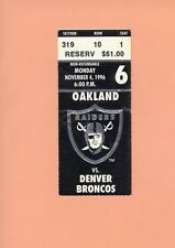 Denver Broncos at Oakland Raiders 11-4-1996 NFL ticket stub Topps HOF John Elway