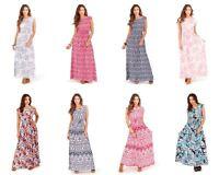 Womens Maxi Dress Long Summer Dresses Cap Sleeve Holiday Casual Sundress New