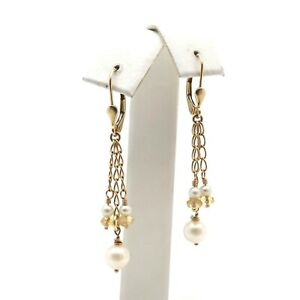 14k Gold Triple Chain Citrine Briolette Akoya Pearl Dangle Leverback Earrings