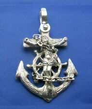 Large Men's Sterling Silver Mariners Wooden Cross Anchor Ship Wheel Pendant