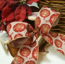 Christmas Luxury Wired Edge Christmas Baubles Ribbon * 63mm wide * ByThe Metre