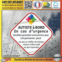 Stickers Autocollant autiste à bord handicape  autisme sécurité decal handicapé