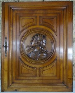 French Antique Large Carved Walnut Wood Panel/Door -Medieval Soldier Woman