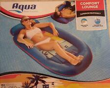 Aqua Comfort Water Lounge, Large, Inflatable Pool Float w/Headrest & Footrest