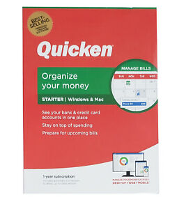 Quicken Starter, 1-Year Subscription for Windows and Mac (2020) - RETAIL BOX