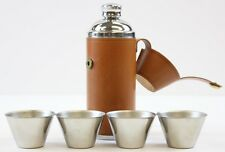 """Classic Glenroyal Saddle Leather & Chrome Cocktail Flask w/ (4) Stacking Cups"""